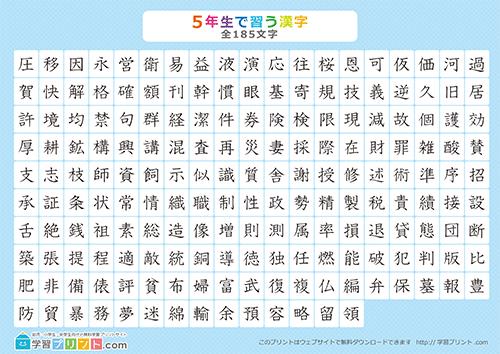 小学五年生の漢字一覧表全185漢字漢字のみ学習プリントcom
