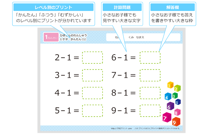 小学一年生の算数プリントひき算の練習学習プリントcom