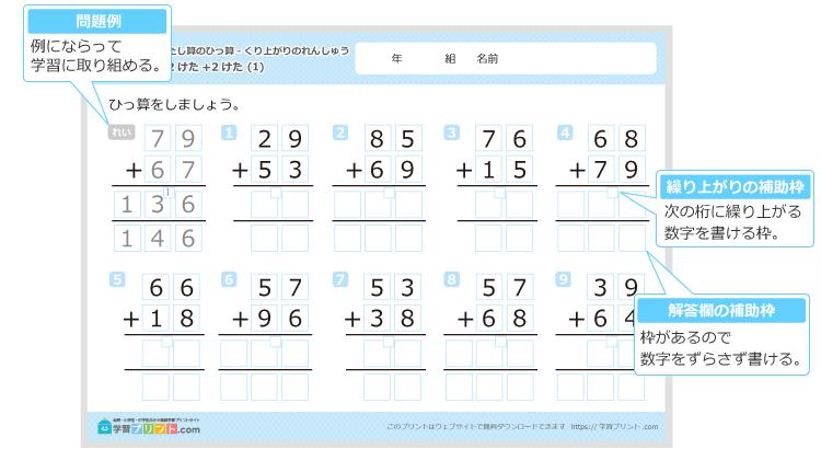 小学二年生の算数プリント足し算の筆算2桁2桁の補助枠